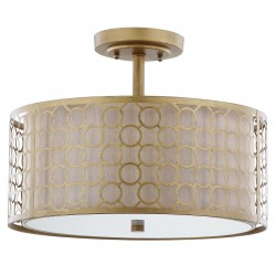 Safavieh Giotta Circle Trellis 3 Light Antique Gold 16-inch Dia Semi Flush LIT4202A