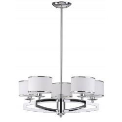 Safavieh Lenora 5 Light Chrome 25 inch Dia Drum Adjustable Pendant - White (LIT4208A)