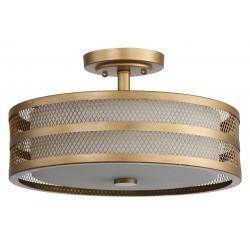 Safavieh Greta 3 Light 15.75-inch Dia Veil Semi Flush - Antique Gold/White (LIT4230A)