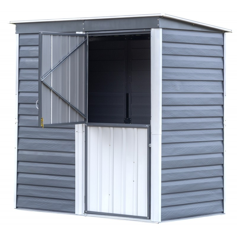 Arrow Shed-in-a-Box 6 x 4 Galvanized Steel Storage Shed-Charcoal/Cream (SBS64)
