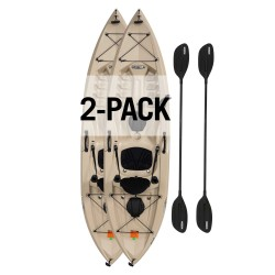 Lifetime Tamarack Angler 100 Fishing Kayak Pack 2  w/ Paddles - Tan (90806)