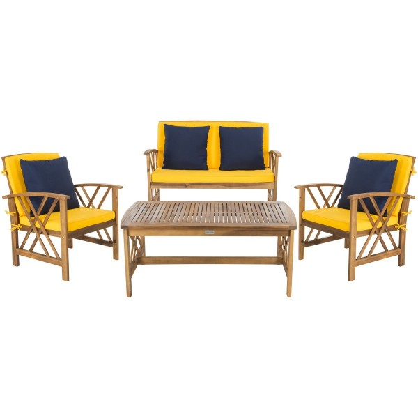 Safavieh Fontana 4 PC Outdoor Set - Natural/Yellow (PAT7008D) on Safavieh Alda 4Pc Outdoor Set id=57991