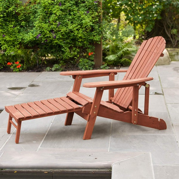 Leisure Season Reclining Adirondack Chair With Pull Out