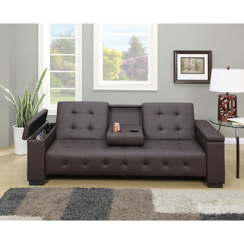 HomeRoots Faux Leather Adjustable Sofa / Bed w/ Dropdown Console - Espresso Brown (315381)