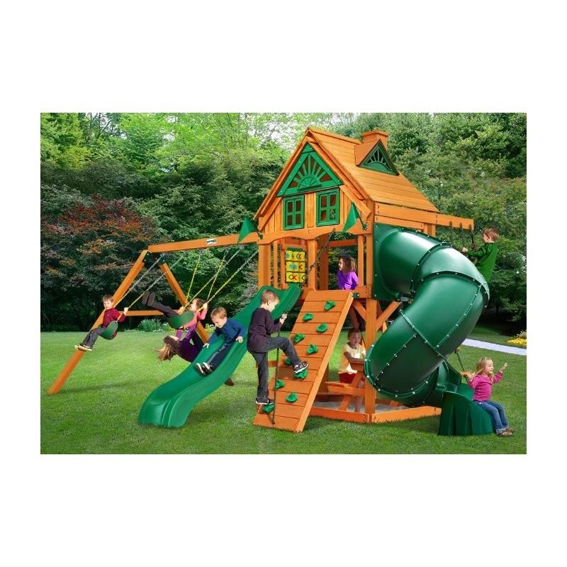 Gorilla Mountaineer Treehouse Cedar Wood Swing Set Kit  w/ Fort Add-On & Amber Posts - Amber (01-0068-AP)