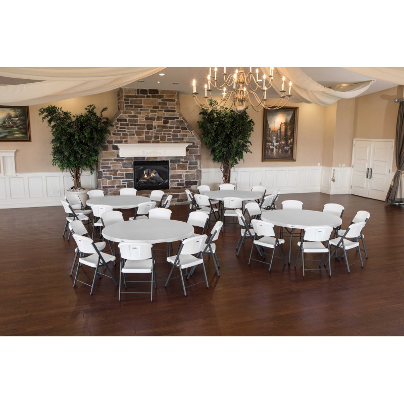Lifetime 4 Round Tables & 32 Chairs Set - White - Commercial Grade (80458)
