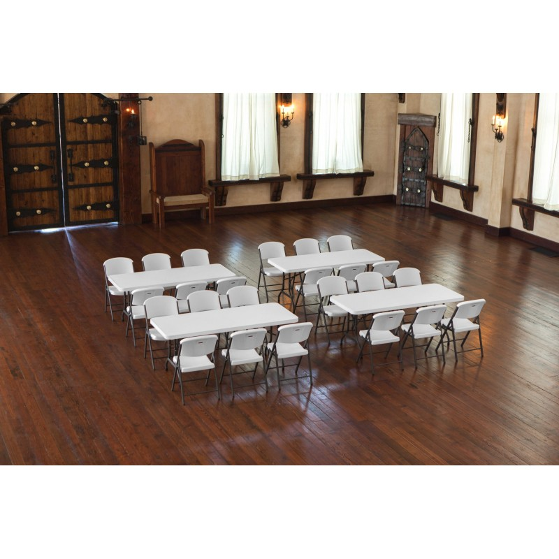 Lifetime 6 ft Rectangular Tables and Chairs Set - White (80148)
