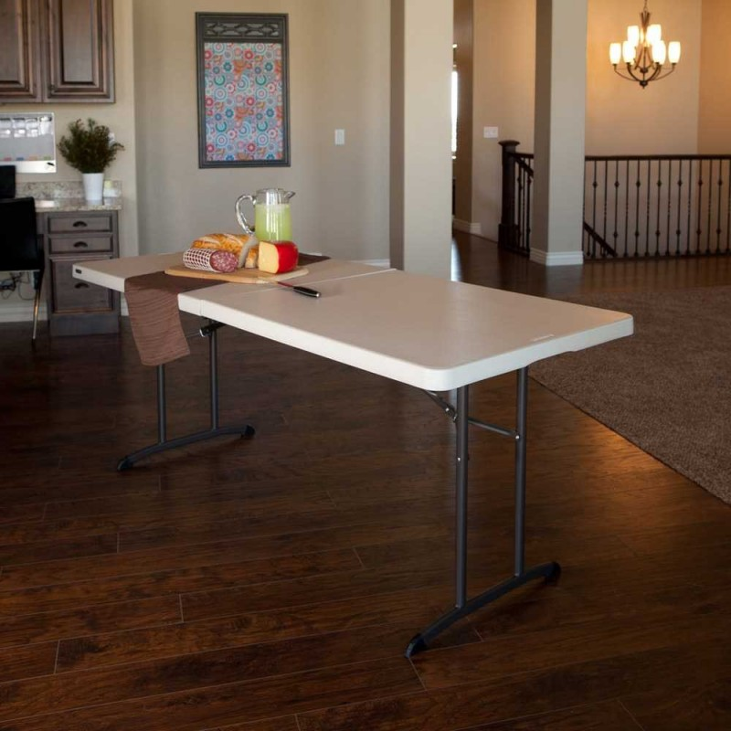 Lifetime 6 ft. Commercial Fold-In-Half Table with Handle- Almond( 80382)