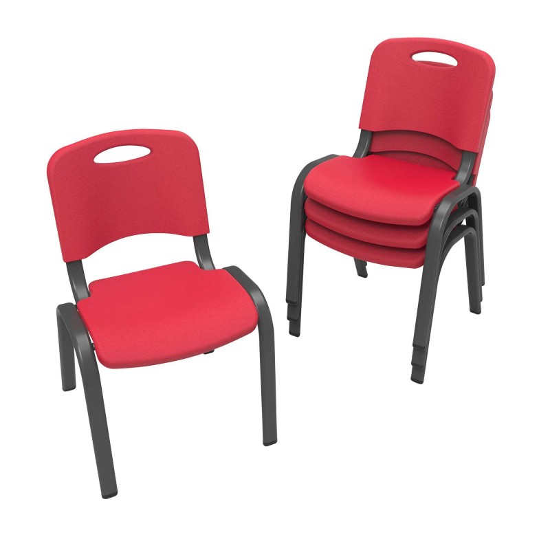 Lifetime 4-Pack Commercial Children's Stacking Chair - Fire Red (80532)