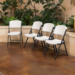 Lifetime 4-Pack Commercial Contoured Folding Chairs - Almond (428030)