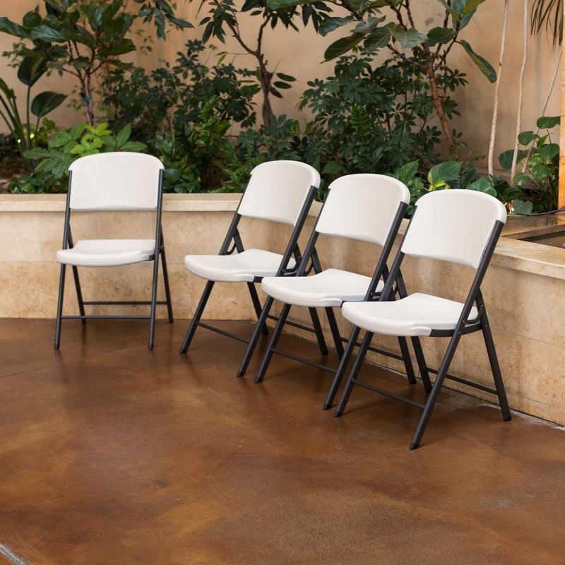 Lifetime 4-Pack Commercial Contoured Folding Chairs - Almond (42803)