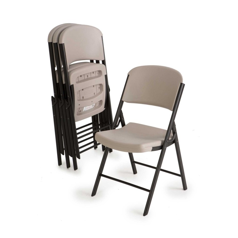 Lifetime 4-Pack Commercial Contoured Folding Chairs - Putty (80186)