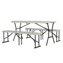 Lifetime 5 ft Portable Fold-In-Half Table and Benches Combo - Pearl (80502)