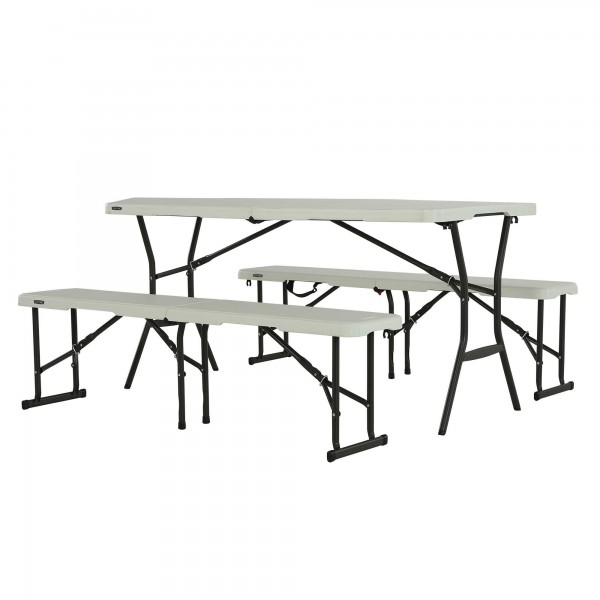 Lifetime 5 Ft Portable Fold In Half Table And Benches