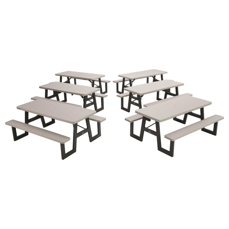 Lifetime 6-PACK A-Frame Folding Picnic Tables - Putty (860030)