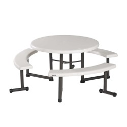 Lifetime 44 in. Round Picnic Table with 3 Swing-Out Benches - Almond (260205)