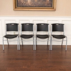 Lifetime  4-Pack Commercial Contoured Stacking Chair - Black (42830)