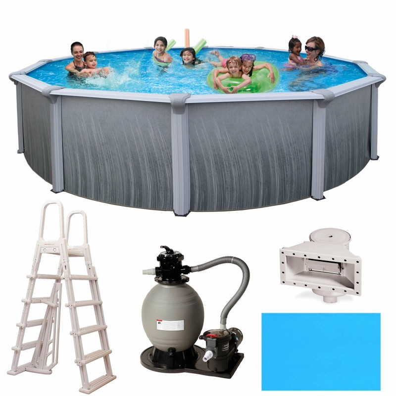 "Blue Wave Barcelona 15' x 52"" Round Frame Pool Package (NG3735)"
