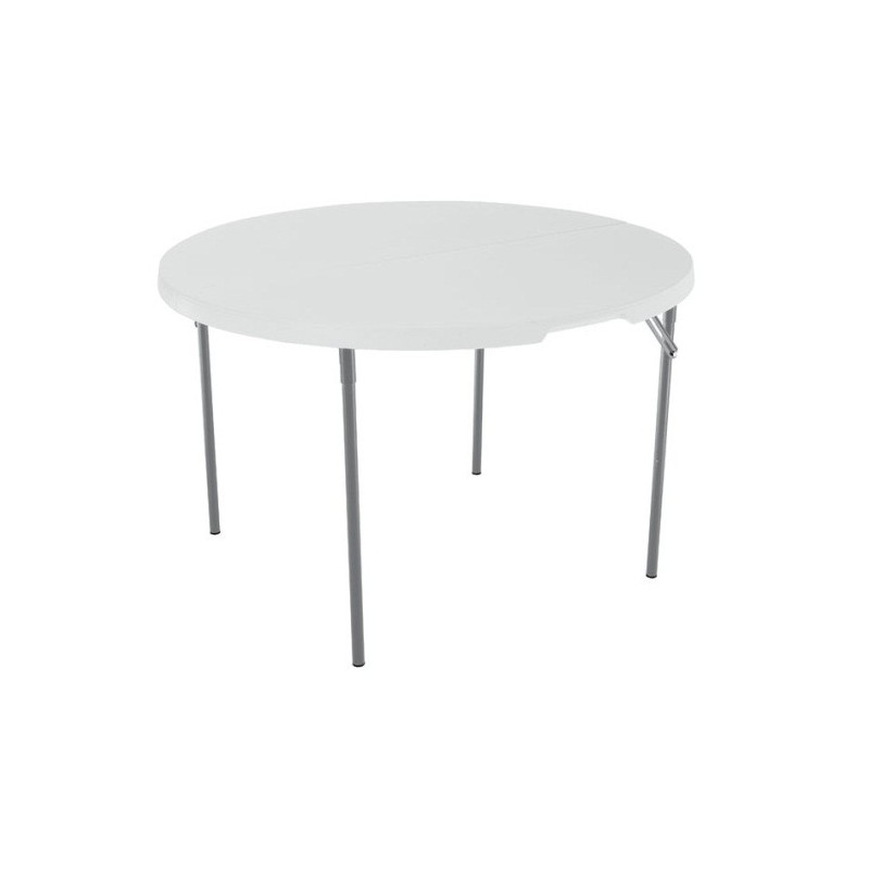 Lifetime 48 in. Light Commercial Round Fold-In-Half Plastic Table with Handle (White) 280064