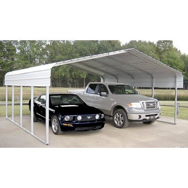 Rhino Shelter 22'W x 24'L x 12'H Two Car Steel Carport Kit ...
