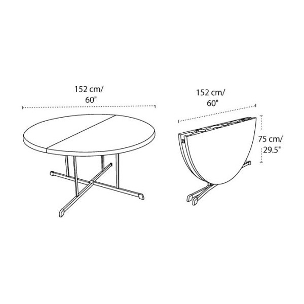 Merveilleux Commercial Round Fold In Half Table   White (25402)