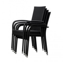 Patio Sense Morgan Outdoor Wicker Chair Set of 4 - Black (63166)