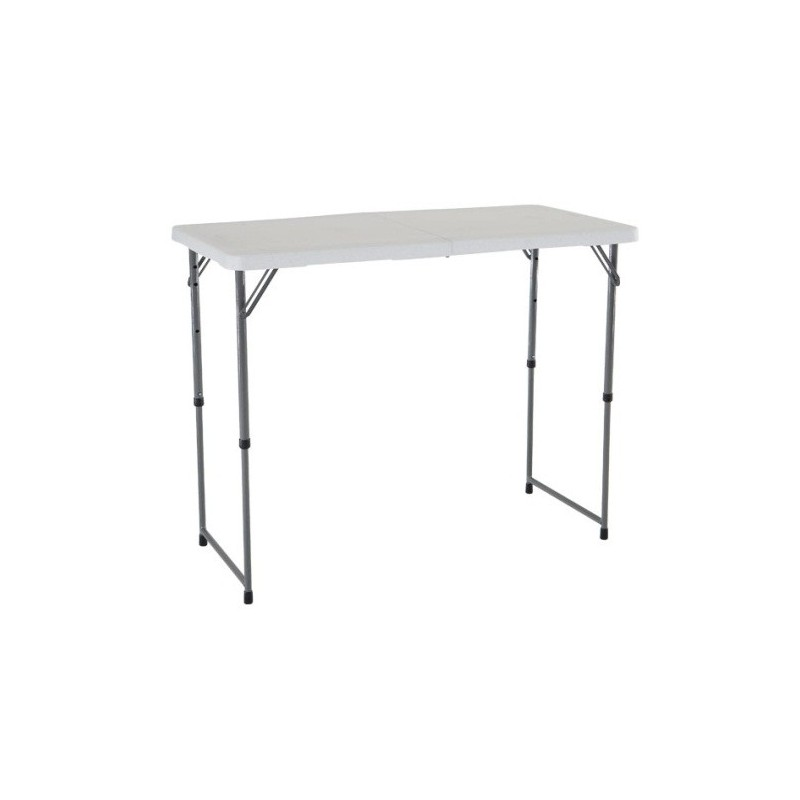 Lifetime 4 ft. Light Commercial Adjustable Height Fold-In-Half Table with Carry Handle (White) 4428