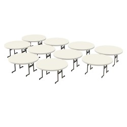 Lifetime 10-Pack Professional 60 inch Round Tables - Almond (880313)
