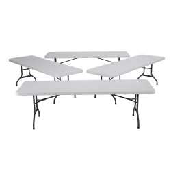 Lifetime 8 ft. Commercial Plastic Folding Banquet Tables 4 Pack (White) 42980