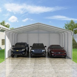 Versatube 3-Sided 24x20x10 Classic Steel Carport Kit (C3E324200100)