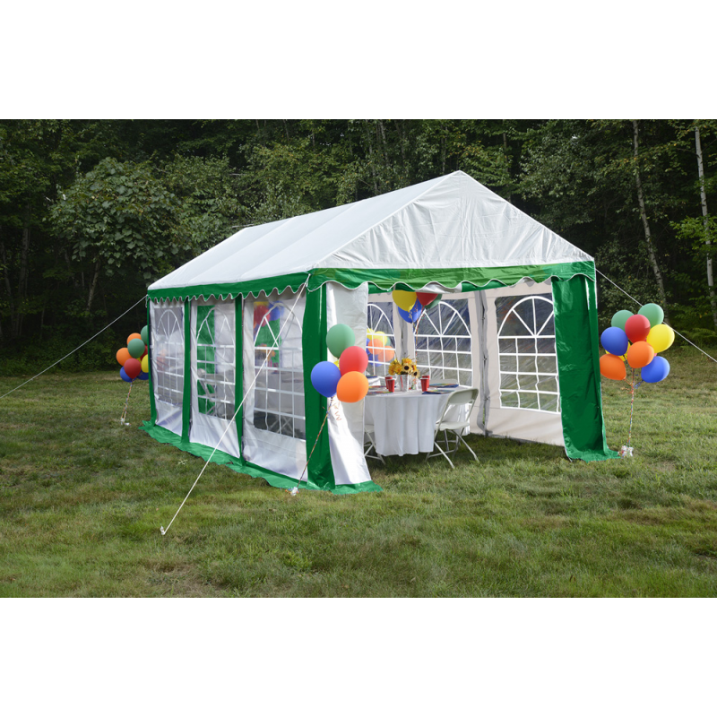 ShelterLogic 10x20 Party Tent Enclosure Kit - Green/White (25899)