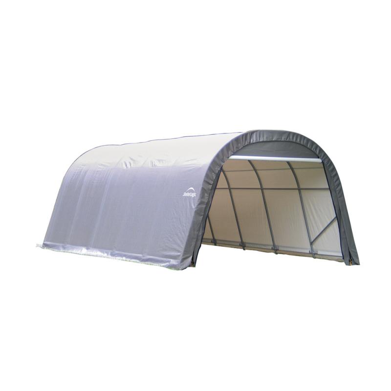 Shelter Logic 12x28x8 Round Style Shelter, Grey (76632)