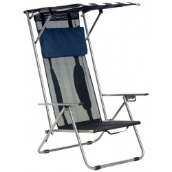 Quik Shade Beach Recliner Shade Folding Chair - Navy / White (142038DS)
