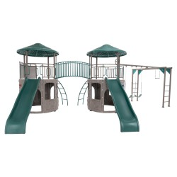 Lifetime Double Adventure Tower Swing Set - Earthtone (90966)
