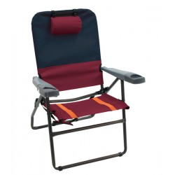 RIO Gear 4-Position Aluminum 17 inches Folding Chair - Charcoal/Oxblood (GR617-430-1)