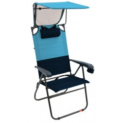 RIO Gear Hi-Boy Aluminum Canopy Folding Chair - Blue Sky/Navy(GR643GHCP-432-1)