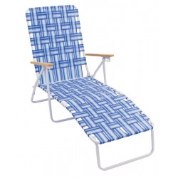 Rio Folding Web Chaise Lounge- Blue and White (BY405-0128-1)