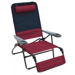 Rio Gear 4-Position Ottoman Lounger - Charcoal and Oxblood (GR569-430-1)