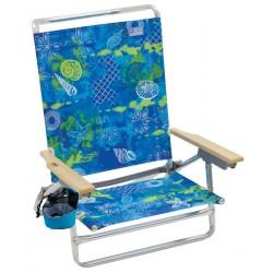 Rio Beach Classic 5-Position Lay-Flat Beach Chair - Blue Green Print (SC592-905-1)