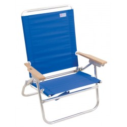 Rio Beach 4-Position Easy-In Easy-Out Beach Chair - Solid Blue (SC602-46-1)