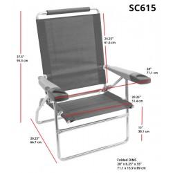 Rio Beach 4-Position 15 inch Tall Beach Chair - Stripe (SC615-1909-1)