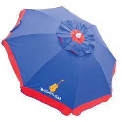 Margaritaville 6' Beach Umbrella with Built-In Sand Anchor - Blue with Red Border (UB79MV-506-1)
