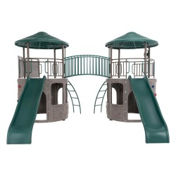 Lifetime Double Adventure Tower Swing Set w/ Bridge - Earthtone (90971)