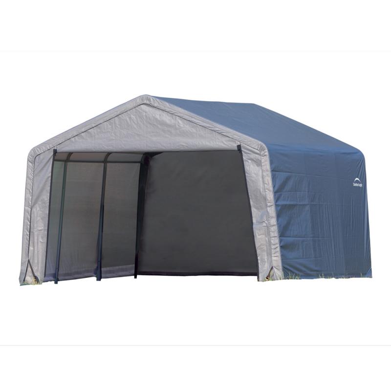 Shelter Logic 12×12×8 Peak Style Storage Shed - Grey (70443)