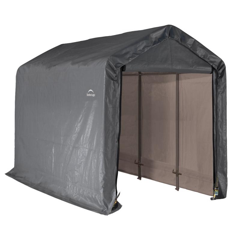 Shelter Logic 6×12×8 Peak Style Storage Shed - Grey (70413)