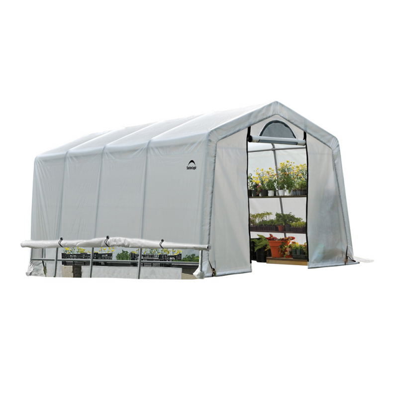 Shelter Logic 10x20x8 ft Rib Peak Style Greenhouse Translucent - Black (70652)