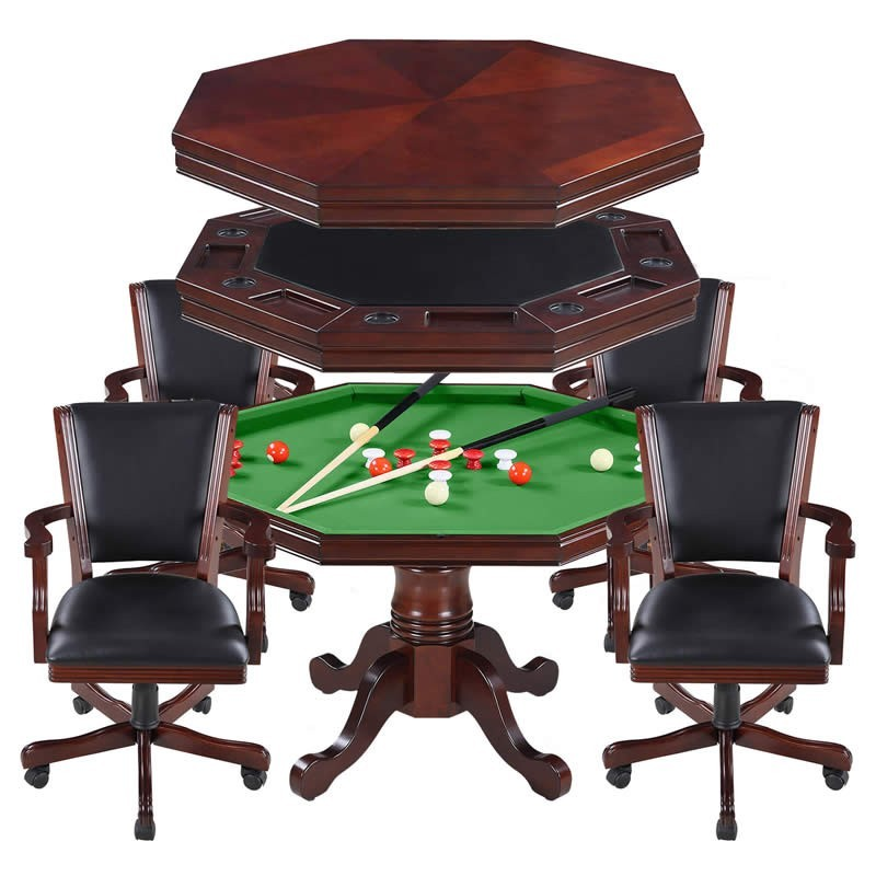 Walnut Kingston 3-In-1 Poker Table with 4 Chairs (NG2366)