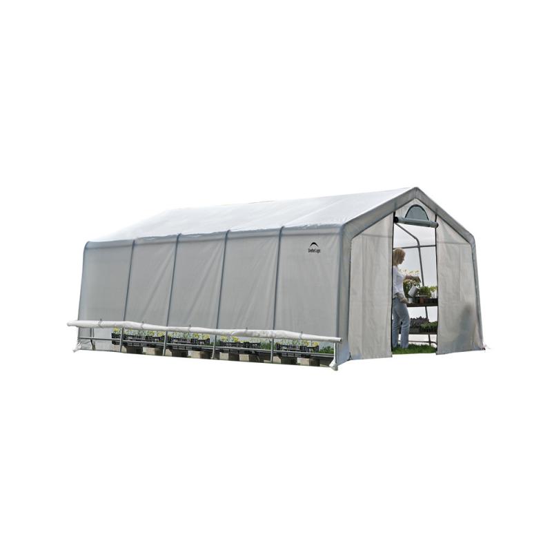 Shelter Logic 12x20x8 Rib Peak Style Powder Coated Translucent - Zipper Door (70590)