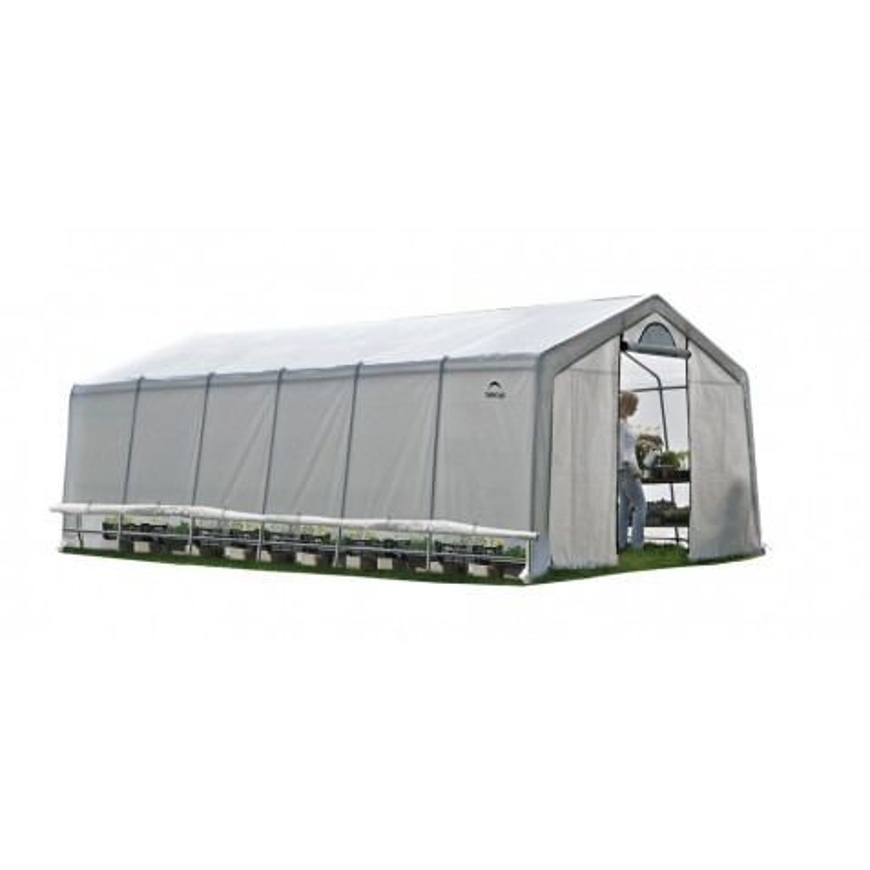 Shelter Logic 12x24x8 Rib Peak Style Powder Coated Translucent - Zipper Door (70590)