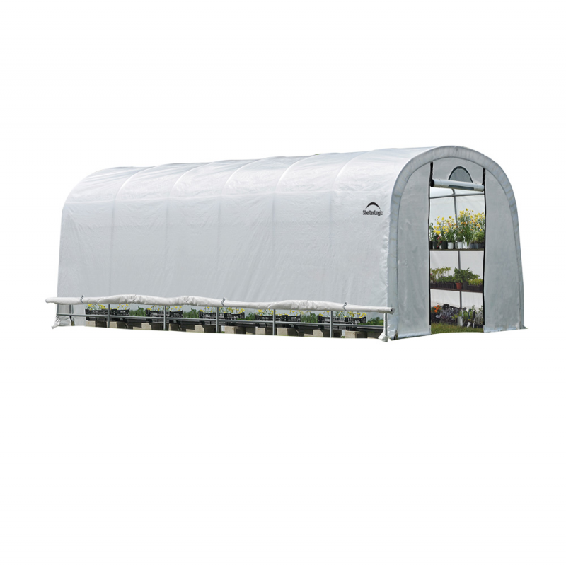 Shelter Logic 12x24x8 Rib Round Style Powder Coated Translucent - Zipper Door (70590)